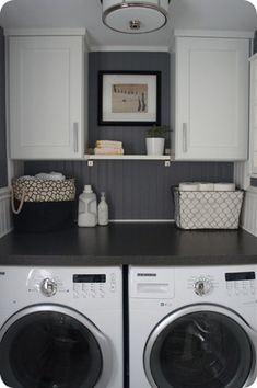 Could put the cabinets on either side of my window :). dark gray walls white cabinets