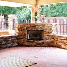 Extravagant Custom Stone Outdoor Fireplace Perfect for an Outdoor Room or Porch
