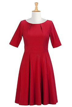eShakti pleat-neck cotton knit fit and flare dress