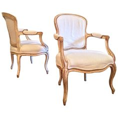 18th Century Pair of French Louis XV Fauteuils   From a unique collection of antique and modern armchairs at https://www.1stdibs.com/furniture/seating/armchairs/