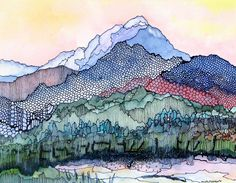 Colorado mountains from my studio - Pagosa Peak 1 - a fine art GICLEE print $49.00, via Etsy.    Love this beautiful mountain scene.  So much movement and such amazing colors.