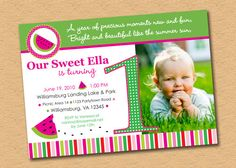 Watermelon First Birthday Party Invitation by inkberrycards