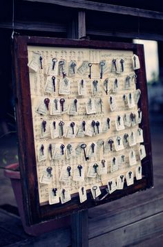 ooooh, old keys! love, love, love!! this would be great if you actually go for the whole rustic/old/vintage theme. cute idea for the placecards..... But it's a little chaotic