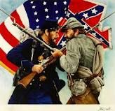The Civil War - North vs. South ~ A great graphic to use on your online Ancestry.com trees or genealogical reports to mark Civil War ancestors..