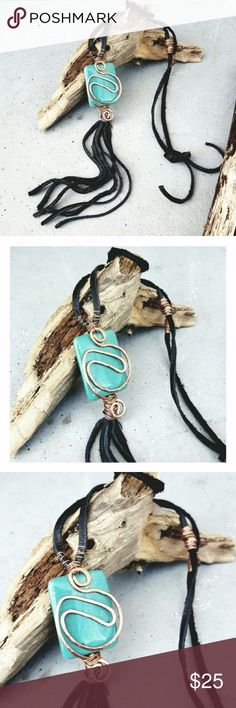 """Copper Wire Wrapped Turquoise Tassel Necklace Turquoise stone pendant wrapped with copper wire, soft black genuine leather laces and tassel, ties at neck to be shortened or lengthened.   Pendant and tassel measures approx 6.5""""  Handcrafted with love by me! croweart Jewelry Necklaces"""