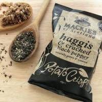 Mackie's of Scotland potato crisps - Haggis & cracked black pepper Pepsi, Yogurt, Potato Crisps, Cracked Black Pepper, Weird Food, Unique Recipes, Food Preparation, Bbq, Chips