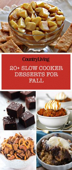 Now that the weather is cooler, it's time to break out that Crock Pot to make these delicious fall dessert recipes. These slow cooker recipes are easy and delicious. Slow Cooker Desserts, Crockpot Deserts, Slow Cooker Recipes, Gourmet Recipes, Crockpot Recipes, Köstliche Desserts, Delicious Desserts, Yummy Food, Dessert Recipes