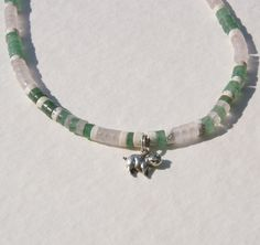Green and Pink Pig Heishe Choker Sterling Silver Charm, via Etsy.