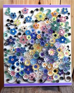 paper quilled art on wood canvas by dominiquehandmade on Etsy, $175.00