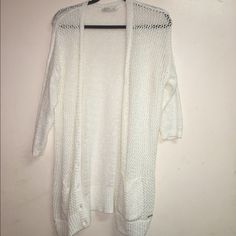 Knit Button Down Cardigan from Gilly Hicks Never worn, white as can be and knit! It's a size large but fits a XS/S Gilly Hicks Sweaters Cardigans