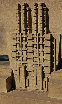 "Hollyhock House - Frank Lloyd Wright (my husband bought me a metal lapel pin w/ the ""Hollyhock"" design at Taliesin West, in NM."