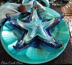 Plum Creek Place - Blue on Blue Seascape Tablescape, Coastal