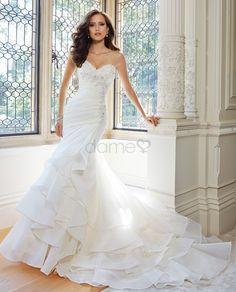 df6ba4dabc2 Chiffon Satin Organza Strand Herz-Ausschnitt Etui bodenlanges Brautkleider  Perfekte Braut