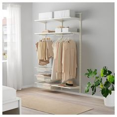IKEA - ALGOT, Wall upright/shelves/rod, white, The parts in the ALGOT series can be combined in many different ways and easily adapted to your needs and space. Can also be used in bathrooms and other damp indoor areas. Only for indoor use. Ikea Algot, Clothes Storage Solutions, Kids Clothes Storage, Best Closet Systems, Wall Railing, Plastic Shelves, Ikea Family, Ikea Us, Vertical