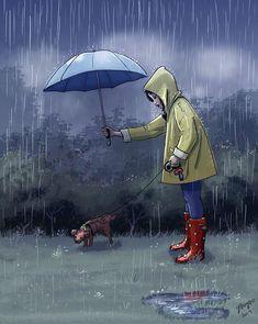 Yaoyao Ma Van As, cane, Yaoyao Ma Van As illustrazioni, Yaoyao Ma Van As illustration, Yaoyao Ma Van As living with a dog Dibujos Cute, Dog Illustration, Digital Illustration, Girl And Dog, Dog Art, Dog Life, Cute Art, Art Girl, Anime Art