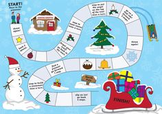 A festive board game, ideal to use at Christmas time to encourage basic counting skills