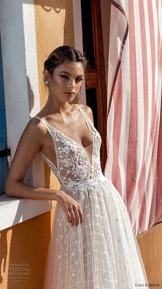 gali karten 2018 bridal sleeveless deep v neck heavily embellished bodice romantic soft a line wedding dress open scoop back sweep train (4) zv -- Gali Karten 2018 Wedding Dresses