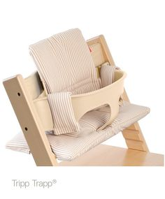 Tripp Trapp Natural with Baby Set and Beige Stripe Cushion. polyester materials are machine washable for easy clean up! Modern High Chair, All Modern, Chaise Tripp Trapp, Classic Cushions, Outdoor Chairs, Outdoor Furniture, Striped Cushions, Toddler Furniture, Beautiful Baby Shower