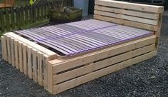 Here is my new pallet bed frame made with discarded pallet planks!