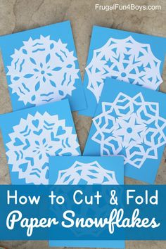 How to Cut and Fold Paper Snowflakes from Frugal Fun for Boys and Girls Winter Activities For Kids, Holiday Crafts For Kids, Summer Crafts, Craft Activities, Preschool Crafts, Kids Fun, Elderly Activities, Winter Games, Christmas Activities