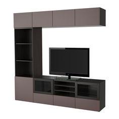 BESTÅ TV storage combination/glass doors - black-brown/Valviken dark brown clear glass, drawer runner, push-open - IKEA