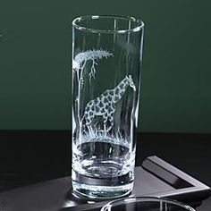 Tall Etched Safari Animal Tumbler - Giraffe