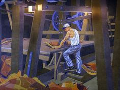 Long hidden at CVG, murals closer to coming home. Photo: Artist Winold Reiss' mosaic mural of worker John A. Hentz at American Oak Leather, which hangs in the gate area of the closed Terminal 2 at the Cincinnati/Northern Kentucky International Airport. The Enquirer/Glenn Hartong