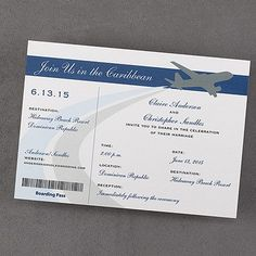 Airplane Boarding Pass - Send this bright white boarding pass invitation to all of your guests for your destination wedding. Engagement Invitation Cards, Destination Wedding Invitations, Wedding Stationery, Boarding Pass Invitation, Invite, Party Planning, Wedding Planning, Wedding Ideas, Cruise Destinations