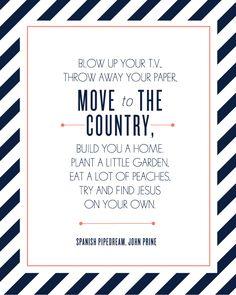 Lyrics to John Prine song! ;)