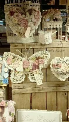 Beautiful shabby idea - Hearts, butterfly and crochet flowers