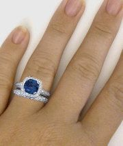 Cushion Cut Sapphire and Diamond Halo Engagement Ring and Wedding Band with Filigree Detail in 14k