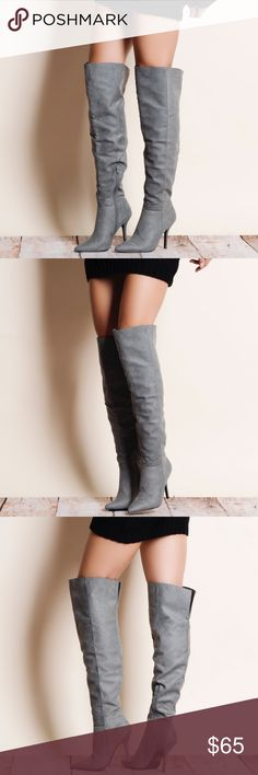 """Grey Suede Over the Knee Boots Grey faux suede over the knee boots. This is an ACTUAL PIC of the item - all photography done personally by me. Model is 5'9"""", 32""""-24""""-36"""" wearing the size 8. NO TRADES DO NOT BOTHER ASKING. PRICE FIRM. Bare Anthology Shoes Over the Knee Boots"""