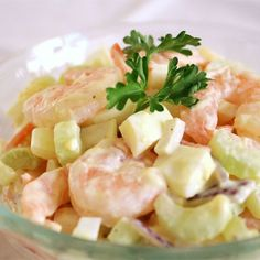 "Shrimply Delicious Shrimp Salad | ""Shrimp with chopped celery, onions, hard-boiled egg, shredded carrots, and mayonnaise."""