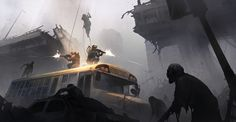 Zombie Soldier EXO_Suit Mist in the city Apocalypse World, Apocalypse Art, Apocalypse Survival, Horror Pictures, Cool Pictures, Cthulhu, Zombies, Post Apocalyptic Art, Zombie Art