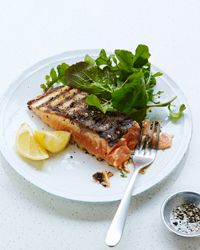 Grilled Mustard-Herb Salmon Recipe - Made 6/26/13 - One of my favorite salmon recipes so far.  Probably had to do with the high dollar wild salmon I purchased also.