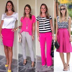 """584 curtidas, 15 comentários - Blessed Moments Atelie (@blessedmomentsatelie) no Instagram: """"A minha aposta de look para amanhã é pink e vocês?? Vamos nos inspirar nesta cor linda, alegre e…"""" Pink Pants Outfit, Pink Skirt Outfits, Hot Pink Pants, Hot Pink Skirt, Stylish Work Outfits, Cool Outfits, Outfit Vestidos, Pink Wardrobe, Look Rose"""