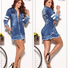 VESTIDO JEANS COLOMBIANO Jean Dress Outfits, Jeans Dress, Denim Skirt, Sexy Jeans, Twin, Poses, Skirts, Dresses, Fashion