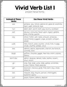 7 Best Vivid verbs images | Vivid verbs, Book activities ...