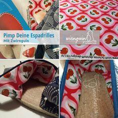 Ein Zwirnguin Schuh im Lotta-Design Lila Lotta, Espadrilles, Alexander Mcqueen Scarf, Blog, Fashion, Textile Design, Linen Fabric, Fabrics, Projects