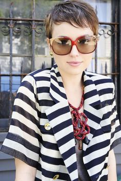 I believe in cute girls with short hair, stripes, and super huge sunglasses