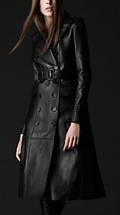 I prefer long black leather coats like this one.