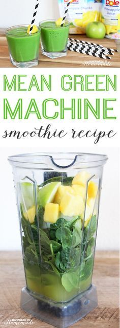 Lemon Smoothie (Sunshine in a Bottle! - Foxes Love Lemons - Mean Green Machine Pineapple Smoothie Recipe - Juice Smoothie, Smoothie Drinks, Breakfast Smoothies, Healthy Smoothies, Healthy Drinks, Healthy Recipes, Detox Drinks, Smoothie Cleanse, Diet Breakfast
