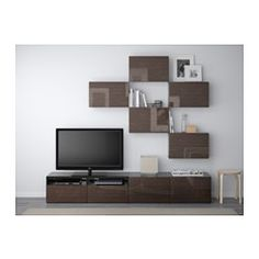 BESTÅ TV storage combination - black-brown/Selsviken high-gloss/brown, drawer runner, soft-closing - IKEA