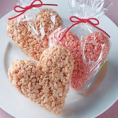 Rice Krispie treats - add red food coloring, cut with heart cookie cutters, and put in a cellophane gift bag for Valentines gifts. AV
