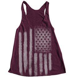 AMERICAN FLAG Women Tank Top American Apparel Triblend Racerback Tank Top Hand Screen Printed $18