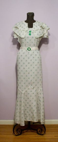 White organdy dress with green polka dots, 1930s.