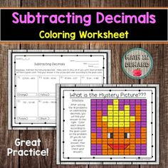 Systems of Equations Coloring Worksheet Adding And Subtracting Integers, Adding Decimals, Multiplying Decimals, 9th Grade Math, Math Coloring Worksheets, Systems Of Equations, Absolute Value, Math Resources, Mystery