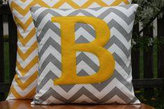 Monogrammed Grey Chevron Pillow Cover - Yellow Monogram - Nursery/Kid Sized on Etsy, $21.00