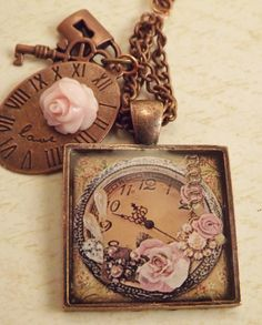 Resin Clock Pendant with Pink Roses by ShayBelleDesigns on Etsy, $6.95