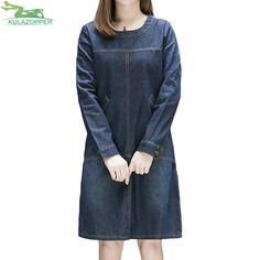 KULAZOPPER 2018 Spring New denim female Dress loose wild long section Korean version large code round neck Women's Dress YL064. Yesterday's price: US $28.47 (23.49 EUR). Today's price: US $28.47 (23.43 EUR). Discount: 54%.